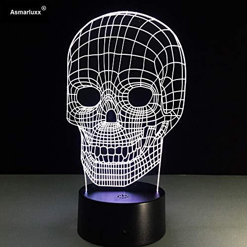 Schädel erstaunlich anders ist Adjus (Schädel) Halloween Party Nachtlicht 3D LED Tischlampe Kinder Geburtstagsgeschenk Nachtzimmer Dekoration