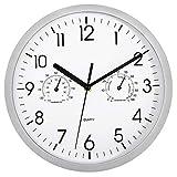 Foxtop Reloj de Pared con Termómetro e Higrómetro, Mide Temperatura y Humedad, Funciona con Pilas (Plata y Blanco, 25 cm)