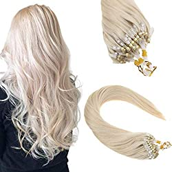 cheap Solar Power 22inch Micro Loop Human Hair Extension 50 Strand White Blonde 60 # Slick Straight Cold…