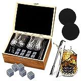 Juego de Vasos de Whisky,Juegos de regalo de whisky,Set de regalo de Whisky,8 piedras de granito de whisky,2 posavasos de pizarra y un par de pinzas,enfría con lo cubitos de whisky