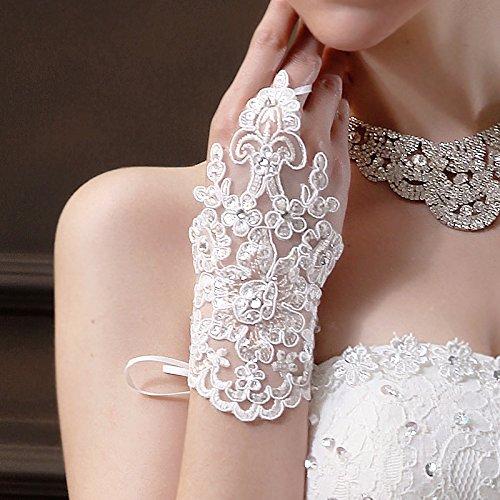 Miya® 1Pares Glamour elegante novia Handschuhe mano Joyero Princesa Guantes de satén...