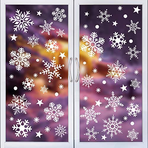 Kiiwah 313 Pezzi Vetrofanie Fiocchi di Neve Natalizie, Adesivi per Vetrina statici Removibili per Porte Finestre di Negozio e Case Addobbi Natalizi