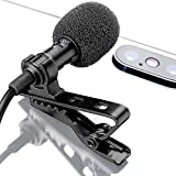 Wired Lavalier Microphone - Lav Mic for Interview, Podcast or Blog - Lava Microphone for Cell Phone Smartphone - Lavalier Lapel Clip On Microphone for Phone