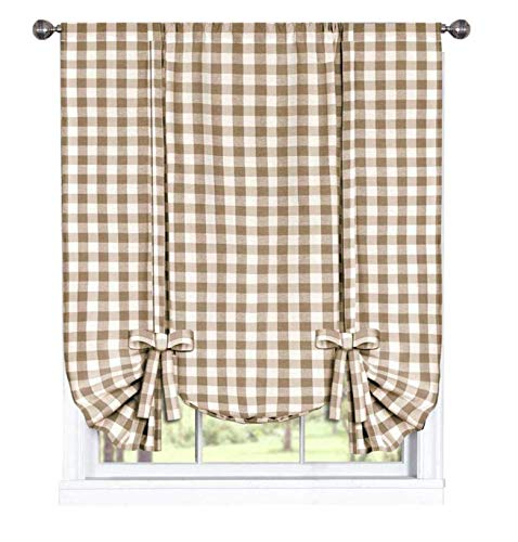 GoodGram Buffalo Check Plaid Gingham Custom Fit Farmhouse Window Curtain Tie Up Shades - Assorted Colors (Taupe)