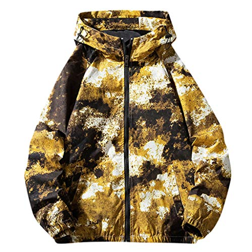 MAYOGO Herren Jacke Softshelljacke Übergangsjacke Kapuzenjacke Sweatjacke Einfarbig/Camouflage Army Jacke Bundeswehr Jacke,Full-Zip (Gelb, XXL)