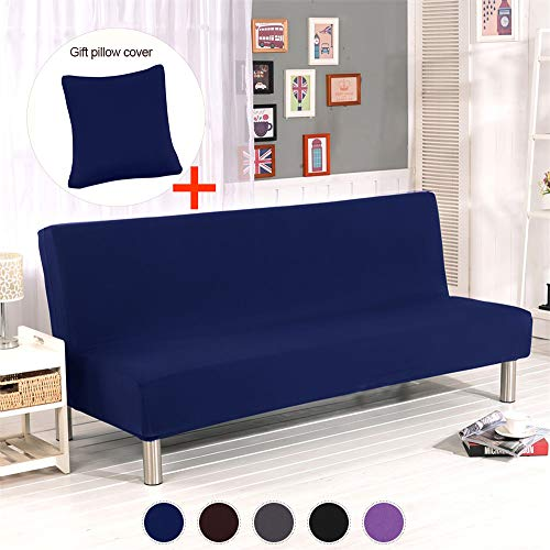ele ELEOPTION Futon Cover Armless Sofa Slipcover Stretch Sofa Bed Cover Protector Elastic Spandex Modern Simple Mattress Folding Couch Sofa Shield Futon Cover (Dark Blue)