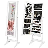 Best Choice Products Mirrored Cabinet Jewelry Armoire w/ 6 Shelves, Stand Rings, Necklaces Hooks, Bracelet Rod - White