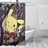 BLACKbiubiubiu Pikachu Duschvorhang, Bedruckt, wasserfest, 152 x 183 cm
