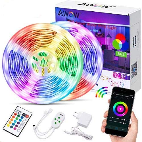 Led Streifen Wifi 10M, Wifi Led Strip IP65, Alexa LED Streifen, Smart LED Streifen, App und Ferbedienung steuerbar, 16 Millionen Farben, Kompatibel mit Alexa Google Home, Stimmenkontrolle