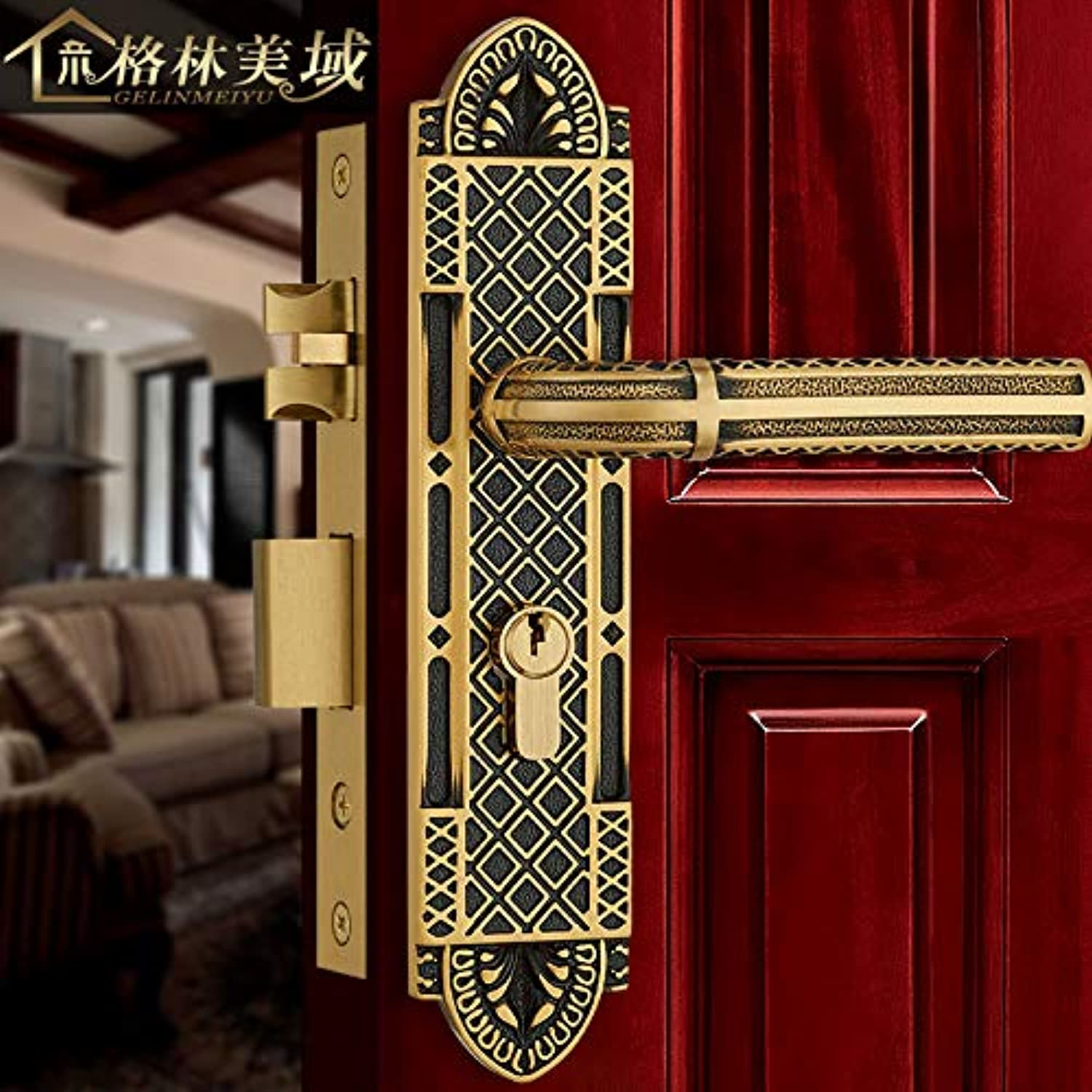 Full Copper Door Lock European Style Indoor Copper Door Lock American Bedroom Handle Black Bronze