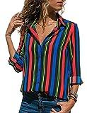 Donna Camicetta Chiffon Blusa Elegante Camicia Manica Lunga Scollo V Camicetta Camicia Bavero Elegante Bluse C Multicolore 38