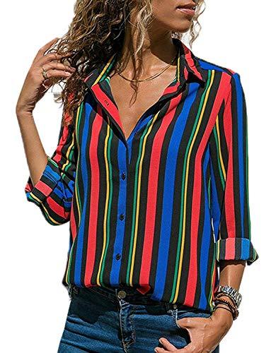 Donna Camicetta Chiffon Blusa Elegante Camicia Manica Lunga Scollo V Camicetta Camicia Bavero Elegante Bluse C Multicolore IT 48