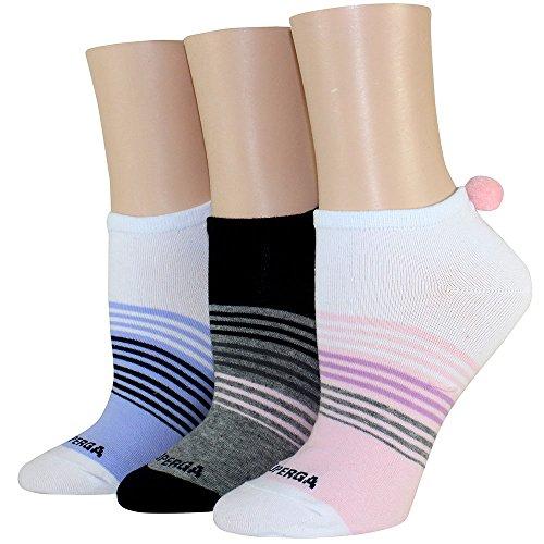 Superga Women's 3PK Stripe Pom Low Cut-SU40249, White/Black/Pink, One Size