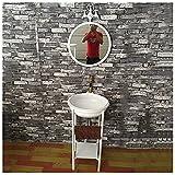 YRRA Mueble Lavabo Industrial, Viento Industrial Muebles de Baño con Lavabo Retro Creativo Restaurante Bar Baño Vanidad18,1 x 18,1 x 33,4pulgadas,Blanco,with Mirror