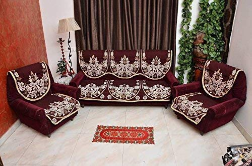 KK Home Store Decor Exclusive Royal Look Velvet Sofa Cover Set with Heavy Fabric 500 TC Floral Design 5 Seater Sofa Cover -  Set of 10 Piece  -Maroon Colour