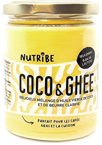COCO&GHEE 460g - Huile vierge de coco et ghee (herbe) - Cuisson saine, café gras - Sans lactose, sans caséine - Marque française