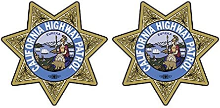 Two Pack California Highway Patrol Seal Sticker Decal Self Adhesive Vinyl CHP Chips Made in USA