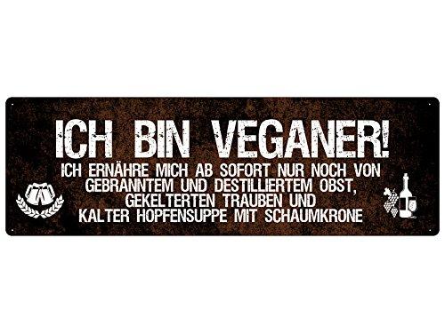 ICH BIN VEGANER Schilderkönig Schild Küche Ernährung veganes Geschenk
