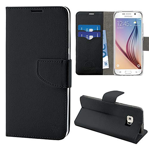 N NEWTOP Cover Compatibile per Samsung Galaxy S6 (SM-G920), HQ Lateral Custodia Libro Flip Chiusura Magnetica Portafoglio Simil Pelle Stand (Nera)