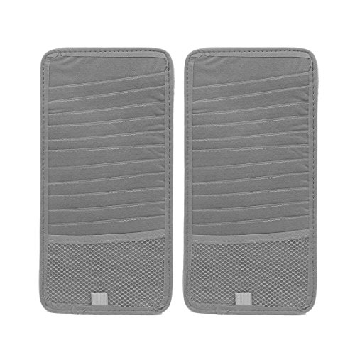 uxcell Car Gray Butterfly Print 12 Slots CD Ticket Cards Holder Storage Case