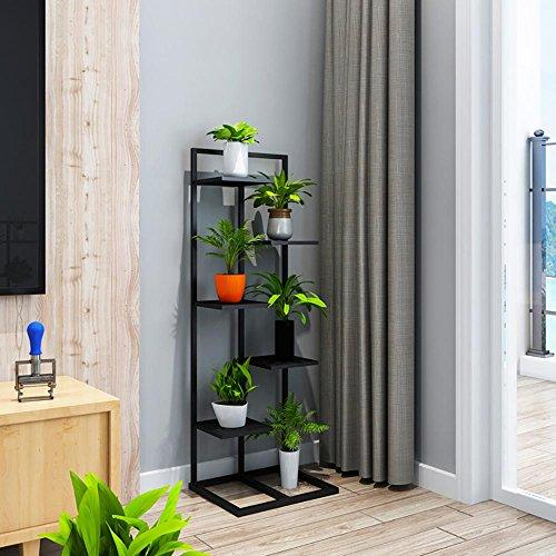 LLLXUHA Art de fer Multi-couche métal Support de fleurs, intérieur salon Type de plancher Cadre de bonsaï, balcon Plantes charnues Présentoir , Black , 40*35*120cm