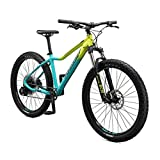 Mongoose Tyax Expert Adult Mountain Bike, 27.5-Inch Wheels, Tectonic T2 Aluminum Frame, Rigid Hardtail, Hydraulic Disc Brakes, Womens Small Frame, Yellow/Teal, Model Number: M29200F10SM-PC