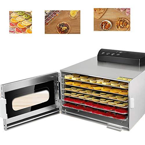 XINX 6Tray Acero Inoxidable Deshidratador De Alimentos con 24Hour Temporizador Digital, Máquina De Fruta Secadora Máquina Deshidratador De Frutas, Verduras, Carnes Y Chile-400W