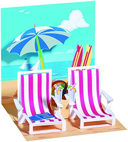 3 D Grußkarte - Liegestühle am Strand