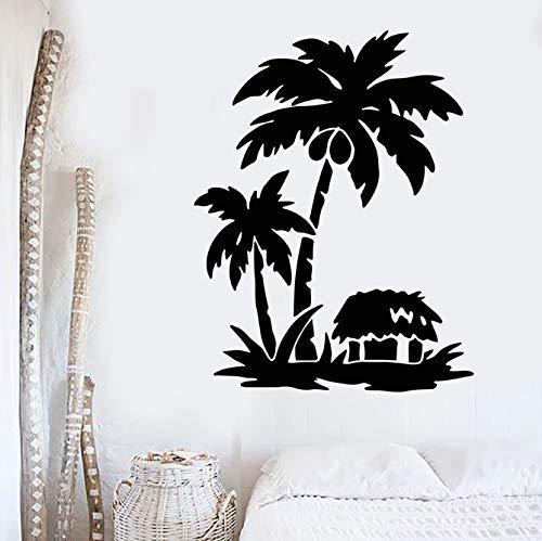 Calcomanía De Pared Palm Tropical Beach House Vacaciones Vinilo Ventana Pegatinas Estilo De Playa Dormitorio Junto Al Mar Restaurante Arte Mural 42X53 Cm