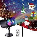 Luces Proyector de Navidad Halloween, AETKFO Proyector LED Navidad Lámpara de Proyección Interior y Exterior,Copo de Nieve,con 9 Formas y 13 Colores,Impermeable,con Control Remoto, Decoración Festivos