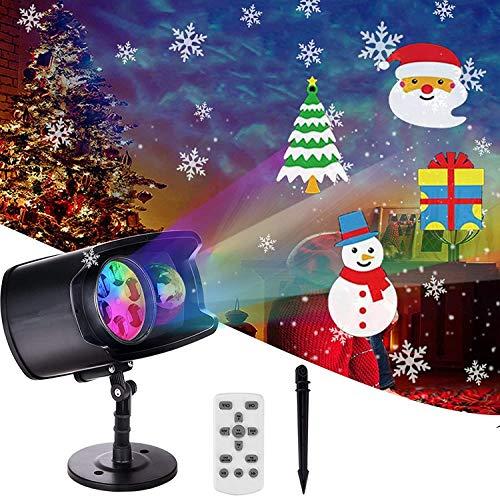 Luces Proyector de Navidad, AETKFO Proyector LED Navidad Lámpara de Proyección Interior y Exterior,Copo de Nieve,con 9 Formas y 13 Colores,Impermeable,con Control Remoto, Halloween,Decoración