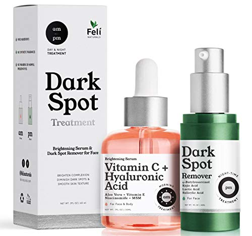 AM/PM Dark Spot Corrector Treatment - Overnight Kojic Acid Dark Spot Remover for Face/Body + AM Vitamin C Serum for Face with Hyaluronic Acid Tranexamic/Kojic Acid Blemish/Acne/Age Spot Remover Women