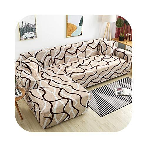 Friendshiy - Funda de sofá de esquina extensible, funda de sofá para salón elástica, toalla en forma de L, para tumbona, 2 piezas, color 24-1-seat 90 – 140 cm