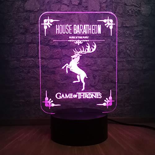 Sanzangtang Led-nachtlampje, 3D-afstandsbediening met zeven kleuren, spel licht, illusie, nachtlampje, tafellamp, nachtdecoratie, jongens, cadeaulampje