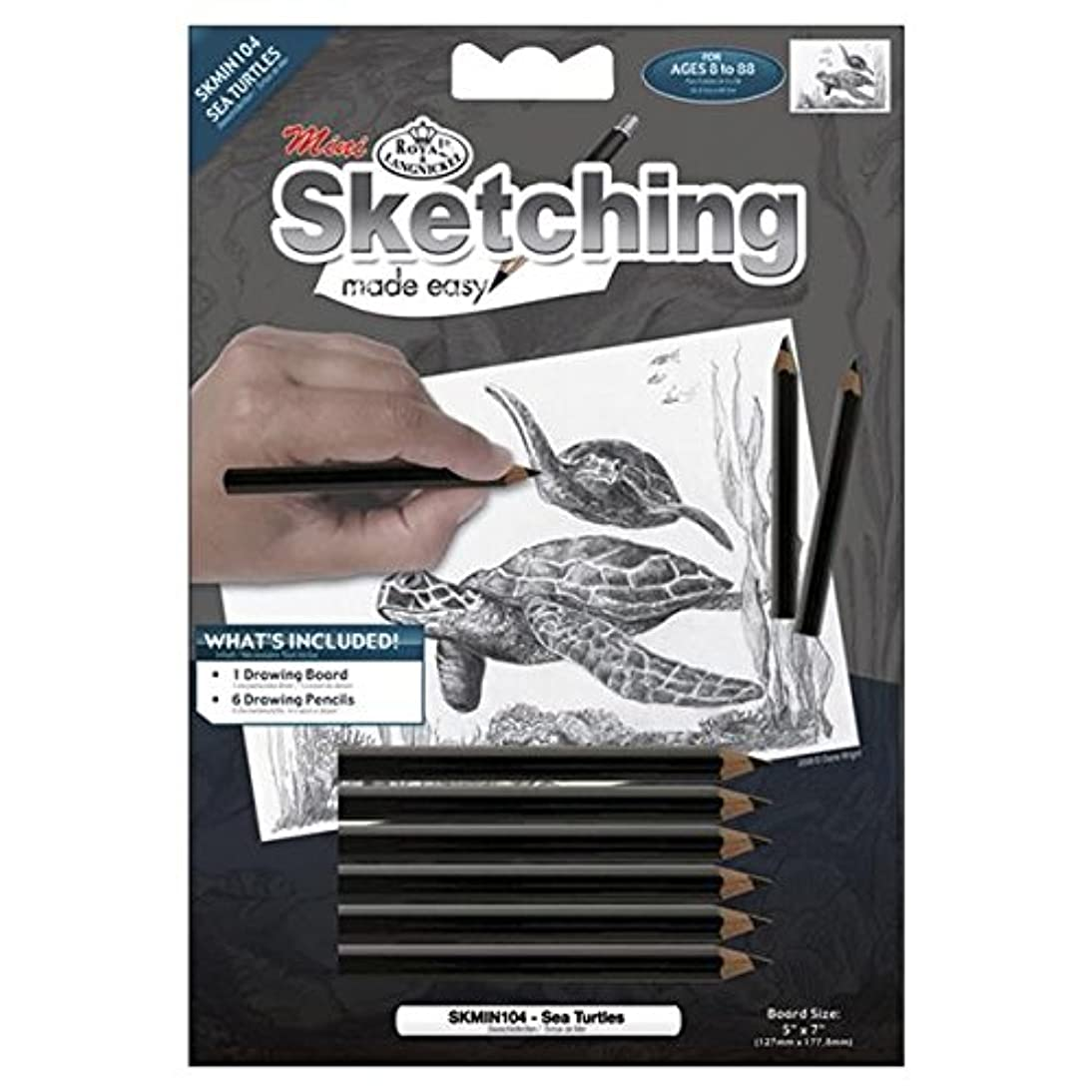 Royal Brush Mini Sketching Made Easy Kit, 5 by 7-Inch, Sea Turtles