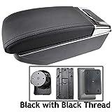 Reposabrazos de piel negra de doble capa para Sandero Logan 2013-2017 Consola central Caja de almacenamiento reposabrazos DE