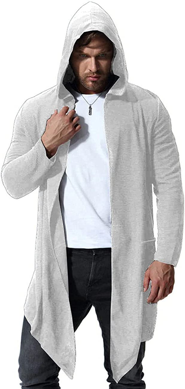 COOFANDY Men's Long Shawl Collar Hooded Cardigan Lightweight Open Front Draped Cape with Pockets