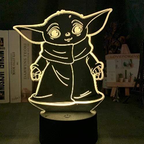 YOUPING Lámpara de ilusión 3D Led Luz de Noche Star Wars Bebé Yoda Meme Figura para Niños Decoración de Habitación de Niños Lámpara de Mesa Bebé Mini Yoda Decoración de la Habitación de Niños