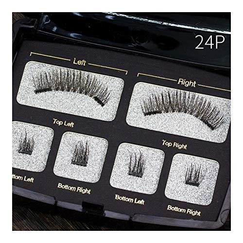 Faux cils naturels faits à la main avec emballage personnalisé Cils d'aimant acrylique de boîte à outils de maquillage (Color : 24P)