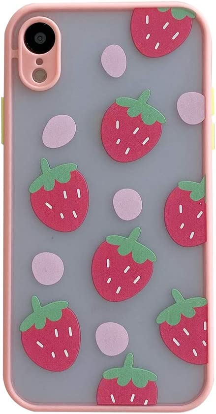TIANA, Pink Strawberries Phone Case for Apple iPhone XR 6.1inch Cute Design Camera Protection Cover Clear Matte PC Back with TPU Bumper Silicone Shockproof Protective Skin for iPhone XR Cases