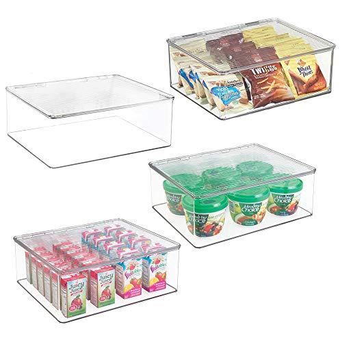 mDesign bewaardoos met deksel voor de koelkast - vershouddoos van kunststof - lunchbox voor babyvoeding en andere levensmiddelen - doorzichtig 4er Pack doorzichtig