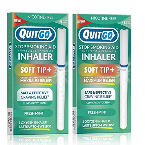Remedio para dejar de fumar, inhalador de oxígeno sin humo, agarre de boca masticable para ayudar a frenar los antojos, sin nicotina, Best Value - 2 Pack, Menta fresca