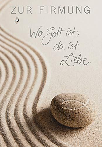 Karte zur Firmung Basic Classic - Sand, Stein - 11,6 x 16,6 cm