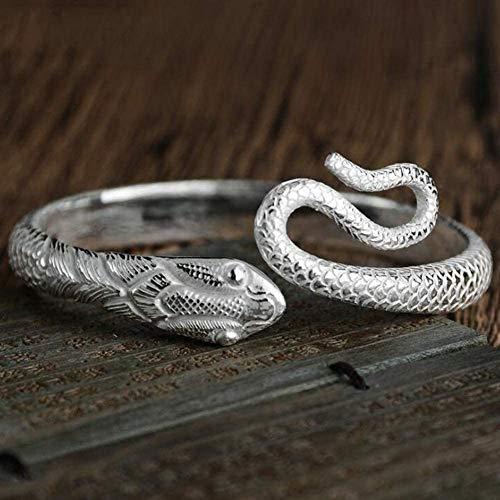 YJZW 999 Sterling Silber Schlange Öffnen Armreif Manschettenarmband für Frauen Einstellbar Schmuck Geschenk 58G