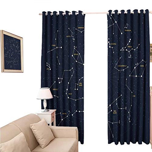 Room Darkening Blackout Curtain, Constellation Sky Map Andromeda Lacerta Cygnus Lyra Hercules Draco Bootes Lynx, with Grommets Set for Bedroom, 84x84 inch