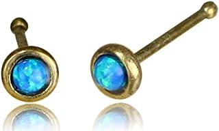 Chic-Net Piercing per naso blu opale Nostril trago in ottone dorato antico lungo 8 mm