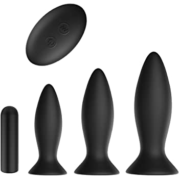 3Pcs Vibrating Butt Plug Set Anal Plug Training Kit, Remote Control 9 Vibration Modes Anal Sex Toys with Suction Cup Base for Male, Female and Beginner