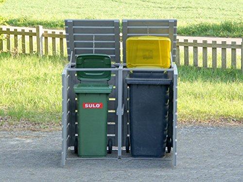 2er Mülltonnenbox / Mülltonnenverkleidung 240 L Holz, Deckend Geölt Tannengrün - 7