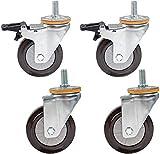 4x Ruedas de tallo de 4 pulgadas de 4 pulgadas de 100 mm Ruedas móviles de goma Rincón giratorio de servicio pesado para muebles de carretilla, ruedas de repuesto, altura de varilla roscada 30mm, capa