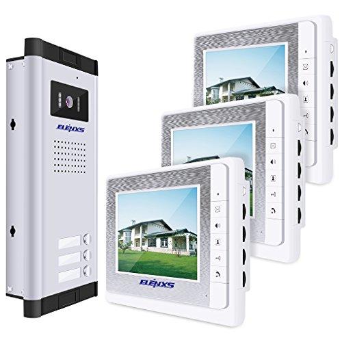 LUFA V70C-520-3 Kit videocitofonico con videocitofono LCD cablato Kit Tre monitor con telecamera IR per visione notturna per casa